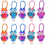 Ioffersuper 10Pcs 30ML Plastic Refillable Bottles Containers with Cute Owl Detachable Silicone Protective Case Reusable Portable Travel Bottles Keychain Design-No Liquid