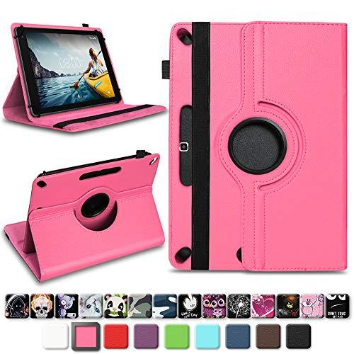 NAmobile Medion Lifetab P10612 P10610 P10603 P10606 P10602 X10605 X10607 P9702 Tablet Hülle Standfunktion Tasche ist 360° Drehbar Robust Universal Schutzhülle Kunstleder, Farben:Pink
