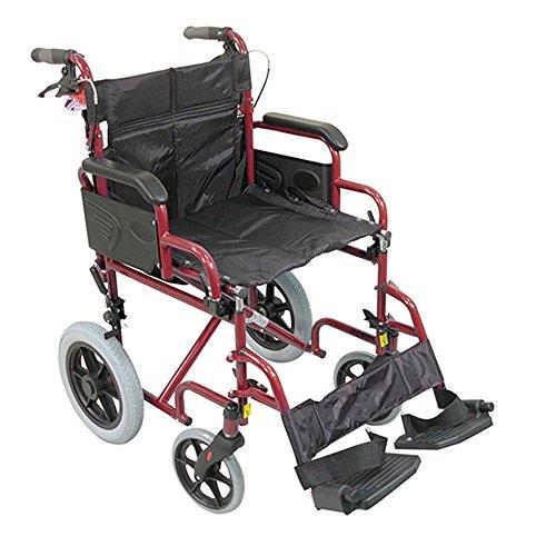 Aidapt VA169RED Deluxe-Rollstuhl aus Stahl zum Antrieb durch den/die Betreuer/in