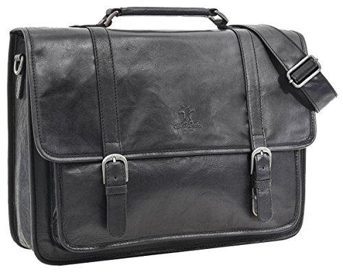 Gusti Leder studio 'Greg' borsa per computer 17' lavoro università con interno impermeabile elegante nera 2H5-20-6wp
