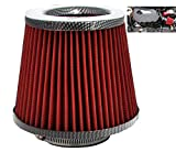 XtremeAuto® Universal Car Cone Induction Air Filter Sports Intake (RED/CARBON)