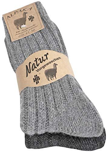 2 Paar Alpakasocken dick weich soft aus Alpaka mit Wolle, Natur, Gr 43-46(Grau 43-46)