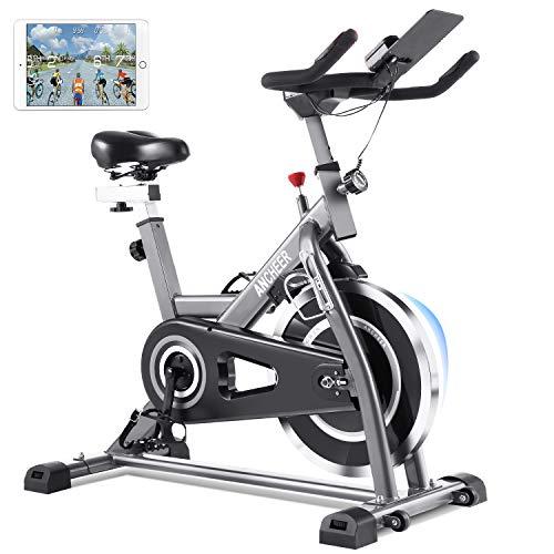 ANCHEER Heimtrainer Fahrrad, Indoor Hometrainer Cycling Fitnessbikes für zuhause mit 22kg Stahlschwungrad, Pulsmesser, Video Events & Multiplayer APP, Benutzergewicht bis 170kg