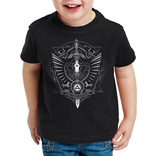 style3 Hyrule Wappen T-Shirt für Kinder link Gamer, Farbe:Schwarz, Größe:104