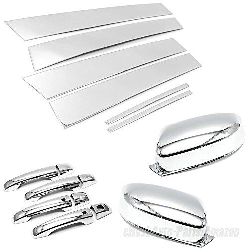 erushautoparts Combo Top Half Mirror+Handle Covers+Pillar Trims for 2011-2016 Chrysler 300C