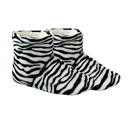 Mojawo knuffelige slippers motief zebra huislaarzen antislip huttenschoenen pluche en anti-slip zool in maat 38/39