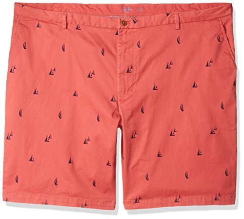 IZOD Men's Big and Tall Saltwater 9.5' Stretch Printed Short, Boat red, 44