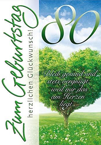 Geburtstagskarte zum 80. Geburtstag Basic Classic - Herzbaum - 11,6 x 16,6 cm