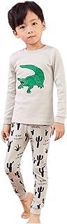 1-8 Años,SO-buts Niño Bebé Niños Otoño Invierno Dibujos Animados Cocodrilo Estampado Camisa Tops + Pantalones Pijamas Ropa...