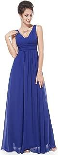 Double V-Neck Elegant Ruched Waist Ladies Long Evening Dress 08110