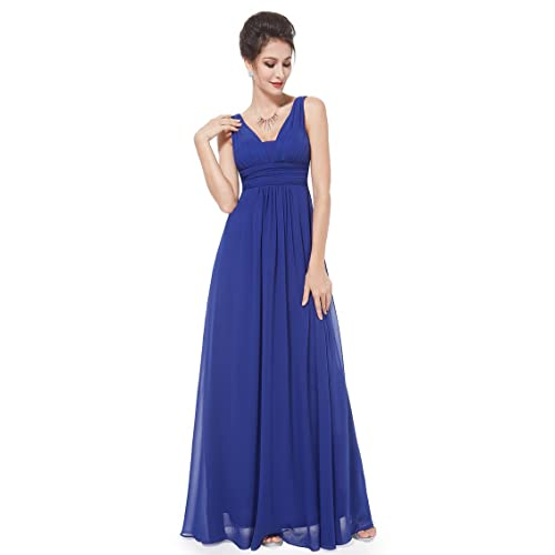 bb8f66ece39 Ever-Pretty Double V-Neck Elegant Ruched Waist Ladies Long Evening Dress  08110