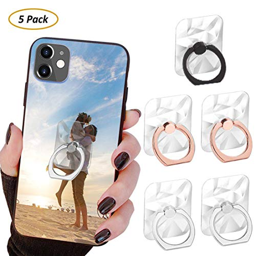 Phone Ring Transparent Cell Phone Ring Holder 360° Rotation Ring for Phone 3D Textured Finger Ring Stand Holder Kickstand Compatible Most Smartphones Set of 5