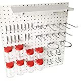World Axiom Pegboard Hooks Kit-RED-41-Piece 1/4'Holes Peg Board Accessories Set with Pegboard Shelf,Attachments,Pegs and Jars in Red-Strong,Heavy-Duty Wall Pegboard Hook Crafting,Sewing Tool Organizer