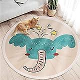 SWECOMZE Alfombra infantil mullida y mullida, para habitación infantil, redonda, de pelo corto, diseño de elefante azul, 120 x 120 cm