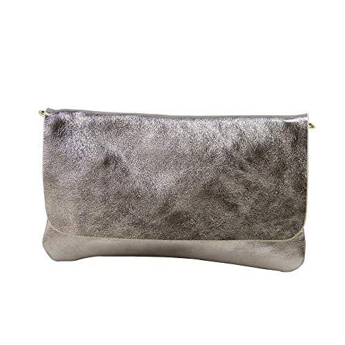 SH Leder Echtleder Umhängetasche Clutch kleine Tasche Abendtasche 24,50x15cm Ely G149 (Bronz)