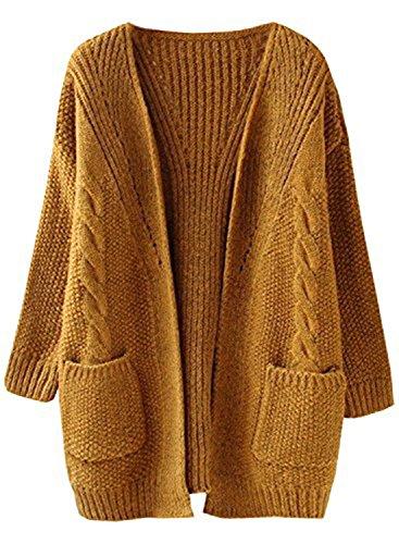 futurino Women's Cable Twist School Wear Boyfriend Pocket Open Front Cardigan Popcorn Sweaters…