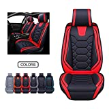 Leather Car Seat Covers, Faux Leatherette Automotive Vehicle Cushion Cover for Cars SUV Pick-up Truck Universal Fit Set for Auto Interior Accessories (OS-004 Front Pair, Black&RED) -  Oasis Auto
