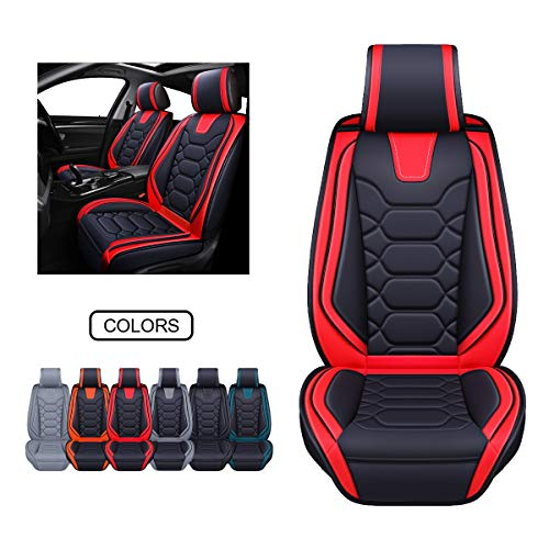 Leather Car Seat Covers, Faux Leatherette Automotive Vehicle Cushion Cover for Cars SUV Pick-up Truck Universal Fit Set for Auto Interior Accessories (OS-004 Front Pair, Black&RED)