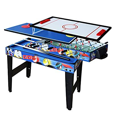 AIPINQI 4 in 1 Game Combination Tables, Mini Foosball/Soccer Table for Kids, Home Sports Mini Hockey Sets, Mini Table Tennis Table for Outdoor/Indoor, Pool Table by AIPINQI