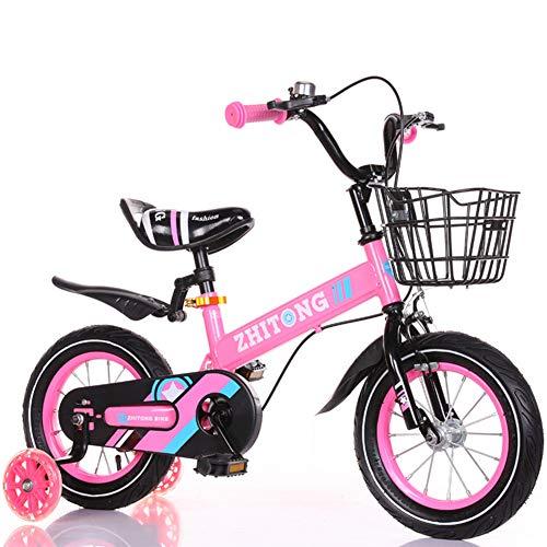 FYLY-Bicicleta Infantil para Niños y Niñas de 2 3 4 Años, Ajustable Frenos de Doble Disco Bicicleta con Ruedas de Entrenamiento y Pedales, para Niños Pequeños de 90-105cm de Altura,Rosado