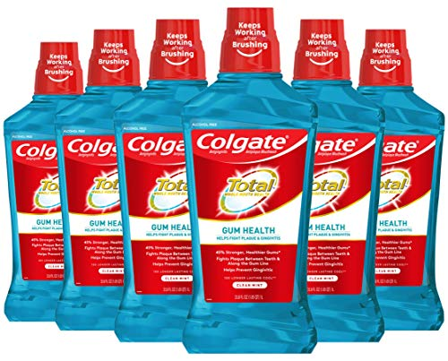 Colgate Total Gum Health Alcohol Free Mouthwash, Antibacterial Formula, Clean Mint - 1L, 33.8 fluid ounce (6 Pack)