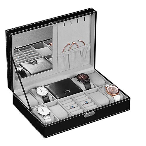 PENGKE 8 Slots Mens Watch Organizer and Jewelry Rings Storage Case with Lock and Keys,PU Leather Watch Case Organizer with Jewelry Drawer,Black Pack of 1