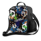Boy Lunch Bag Boy Game Spaß Fußball Sport Teen Lunchboxen mit Griff Schultergurt Wiederverwendbare Kühltasche für Männer Frauen Arbeit/Schule/Picknick