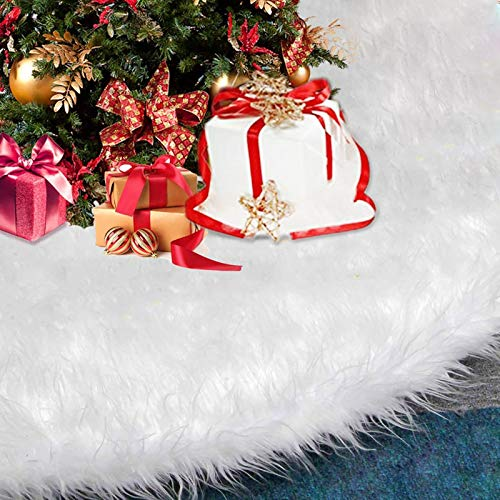 BLAZOR Baumdecke Weihnachtsbaum Decke, 90cm Weihnachtsbaumdecke Runde Form Schneeflocke Weiß Plüsch Christbaumständer Teppich für