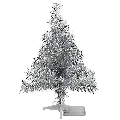 FEIGO Weihnachtsbaum Tannenbaum mit LED, Silber Mini LED Weihnachtsbaum für Weihnachten, Advent, als Stimmungslicht, Christbaum 50 cm