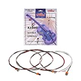 Muslady Cuerdas para contrabajo,Alice A1000 Set Completo (GDAE) Core de Acero Bobinado Cuproníquel, 4 piezas/juego