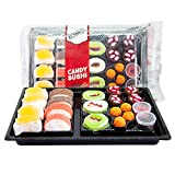 Raindrops Gummy Candy Sushi Bento Box with 6 Kinds of Sushi Rolls and Garnishes - 1 Tray with 21 Sushi Bites...