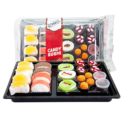 Raindrops Gummy Candy Sushi Bento Box with 6 Kinds of Sushi Rolls and Garnishes - 1 Tray with 21 Sushi Bites of Marshmallows, Licorice, Sour Strips, Gummi Bears and Fish - Fun and Unique Candy Gifts