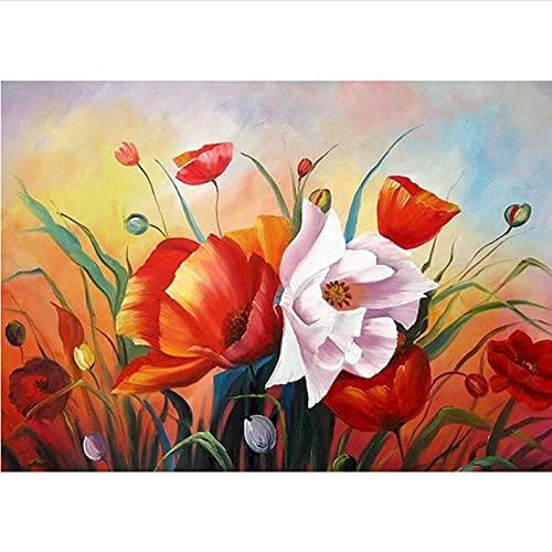 Diy pintura al óleo por número kit Flores Pintar por Números Niños Decoración del Hogar 16 * 20 Pulgadas con marco
