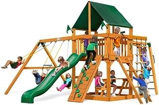 Gorilla Playsets Navigator Swing Set w/Natural Cedar and SunbrellaCanvas Forest Green Canopy