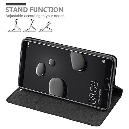 Cadorabo Hülle für Huawei Mate 10 - Hülle in Nacht SCHWARZ – Handyhülle mit Magnetverschluss, Standfunktion und Kartenfach - Case Cover Schutzhülle Etui Tasche Book Klapp Style - 3