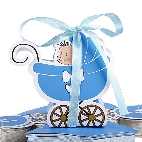 FLOFIA 50pcs Cajas Cajitas Caramelos Bautizo de Papel Cartón Niño Azul Estilo Cochecito con Cintas Favor Box para Decoración Boys Fiesta Cumpleaños Regalo Detalles Bombones Invitados