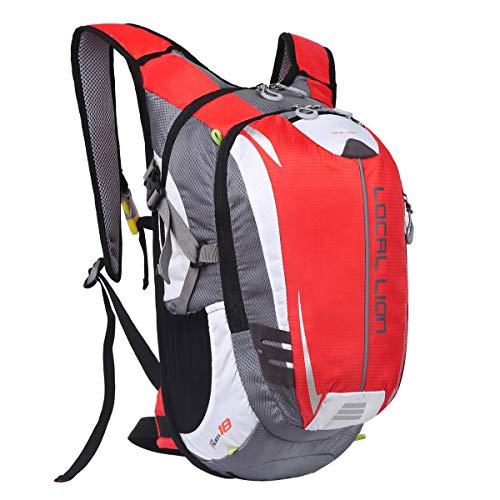 Local Lion 18L Mochila de Ciclismo de Deportes al Aire Libre Hidratación de Senderismo Excursion Multifuncional Nylon para Unisex Color Rojo