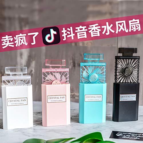 YLH aromatherapie parfum fles hand kleine ventilator USB miniventilator draagbare mooie modellen intrekbare oplader draagbare elektrische ventilator (kleur: zwart)