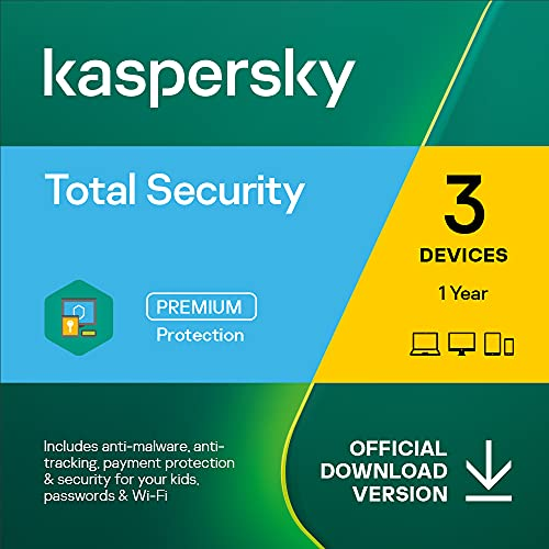 Kaspersky Total Security 2021 | 3 Devices | 1 Year | Antivirus, Secure VPN and Password Manager Included | PC/Mac/Android | Online Code