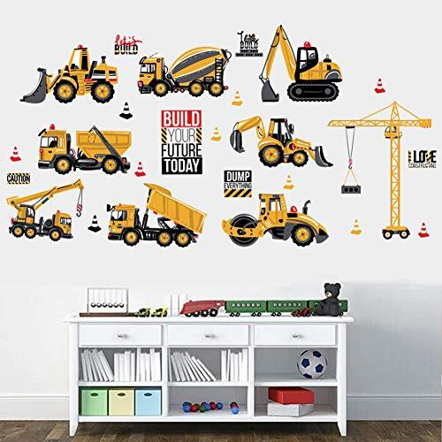 Wallpark Construcción Vehículos Tractor de Camiones de Ingeniería deJuguetes para Niños Desmontable Pegatinas de Pared Etiqueta de la Pared, Bebé Niños Hogar Infantiles Dormitorio Vivero Mural