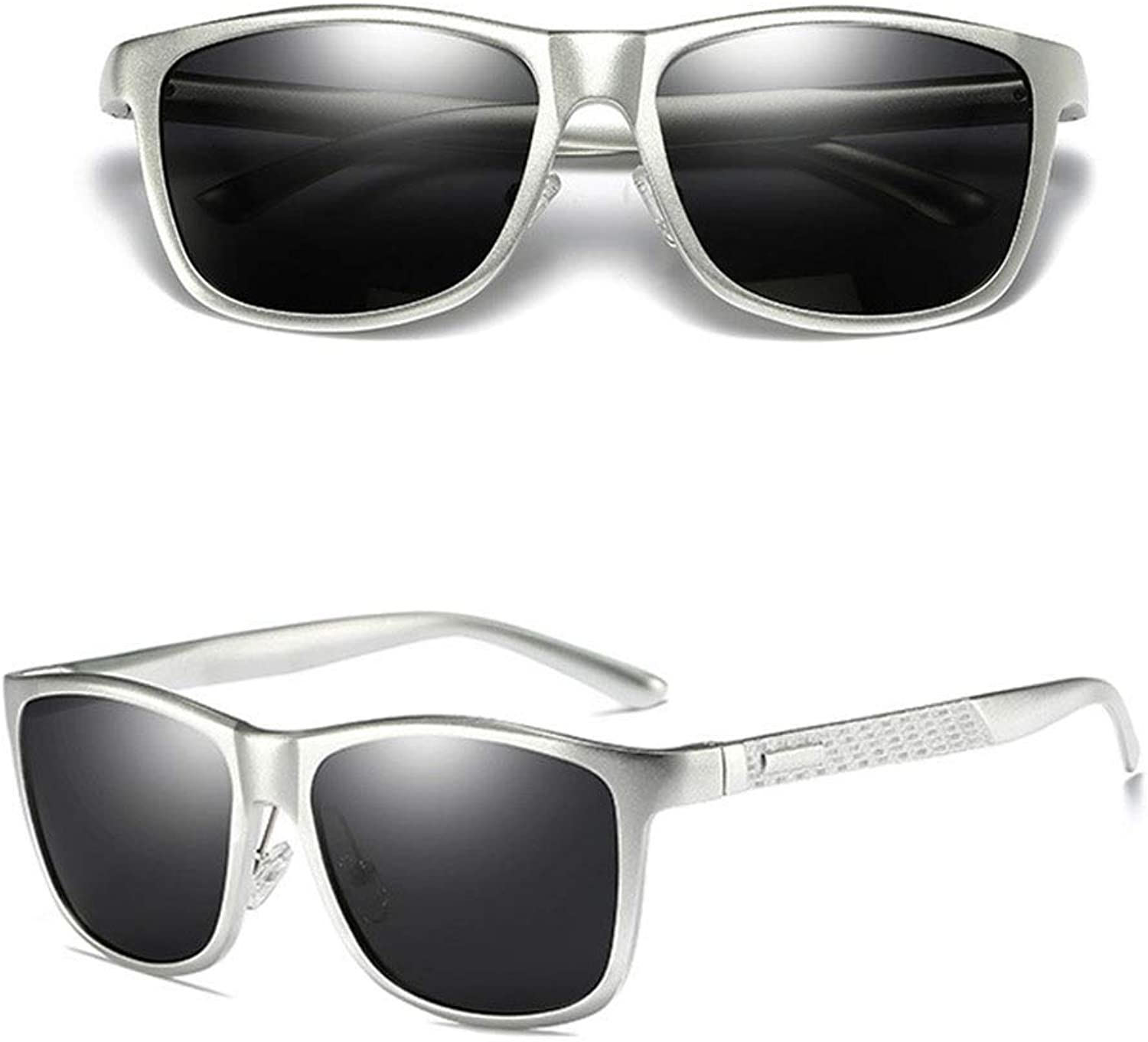 Men's Fashion Full Frame Al-Mg Alloy Polarized Outdoor Sunglasses with Case (color   Silver Frame)