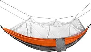 Hamaca con mosquitera Jardín para Adultos Hamaca para Acampar Hamaca Colgante Multifuncional Hamaca portátil, Capacidad de Carga de Aproximadamente 300 KG (Color : Orange, Size : 140 * 260CM)