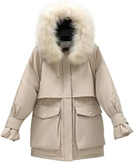 iHHAPY Ladies Winter Jacket Parka Coat Puffer Jacket Quilted Jacket Hooded Faux Fur Winter Parka Thicken Warm Coat