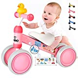 CRZKO Baby Balance Bikes, Baby Walker, Baby Balance Bike per 10 – 24 mesi, senza pedale, 4 ruote per bambini, primo compleanno per bambini e bambine di 1 anno