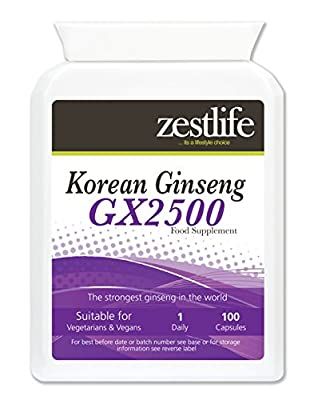 Panax Ginseng by Zestlife 100 High Strength Capsules. 100mg of Korean Ginseng Extract containing typically 30% Ginsenosides. Also Known As Korean Ginseng. Used for Improved Concentration, Memory, Physical Stamina, and Athletic Endurance. Premium Supplemen