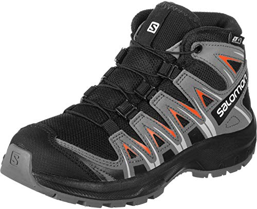Salomon Kinder Wanderschuhe, XA PRO 3D MID CSWP J, Farbe: schwarz/orange (Black/Stormy Weather/Cherry Tomato), Größe: EU 37