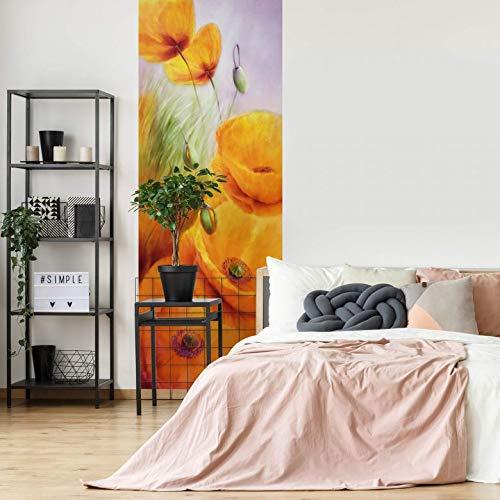 Fotobehang Schmucker - Klaprozen 96 x 260 cm (bxh) | Hoogwaardige Kwaliteit Vliesbehang | Eenvoudig te Plakken | Bloemen Behang