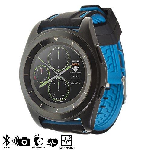DAM Silica DMT179BLACKBLUE G6 Smartwatch mit rundem Display und Kautschukband