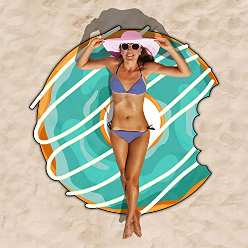 Toalla De Playa En Forma De Rosquilla, Patrón De Impresión Digital 3D, Tapete De Playa De Microfibra De Forma Irregular, Toalla Absorbente De Secado Rápido 150cm