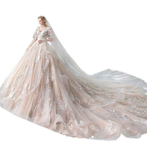 HO-TBO Hochzeitskleid, Brautkleid V-Ausschnitt Langarm-Super-feenhafte Fantasie Big Tailing Lady Brautkleid Taille Schlanker Sicht (Color : Photo Color, Size : XXL)